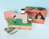 1960s Sew-Ette Toy Sewing Machine in Light Pink & Green, Original Box, Table Clamp, Extra Needle, Instructions, Toyland Brand, Made in Japan
