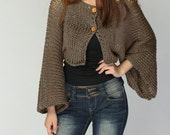 Hand Knit cardigan Mocha Kimono sleeve shrug/ little cardigan