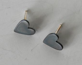 Small Black Heart Earrings, Heart Stud Earrings, Heart Post Earrings, Black Earrings, Black Hearts, Heart Jewelry, Minimal jewelry