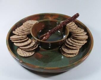 Chip and Dip Bowl  - Ceramic Serving Platter -  Brown Green - Wheel Thrown Platter - Stoneware Serving Plate - Pottery Platter