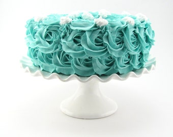 """Rosette Fake Cake Turquoise Frosting Approx. 9.25 to 9.75""""w x 4.25 to 4.5""""h Fab Photo Prop, First Birthday Decor, Decor for your Kitchen"""