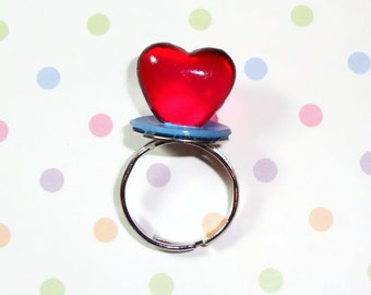 Heart Ring Pop Ring - Cherry Red