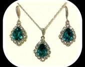 Peacock Teal Silver Jewelry Set, Swarovski Crystal Necklace, Teardrop Earrings, BIJOUX