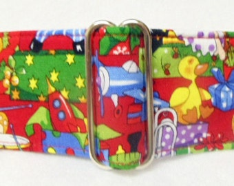 Santa's Toy Shop Cotton Greyhound, Whippet, Galgo, Pit Bull, Dog, Sighthound Martingale Collar