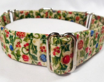 Ornaments and Holly on Cream Metallic Cotton Fabric Greyhound, Whippet, Galgo, Pit Bull, Dog, Sighthound Martingale Collar
