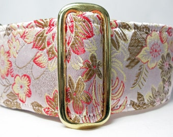 Pale Coral Floral Brocade Greyhound, Whippet, Galgo, Saluki, Dog, Pit Bull  Martingale Collar