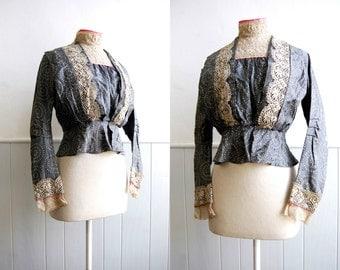 Antique Edwardian Silk and Cream Lace Bodice // Slate Blue // High Collar