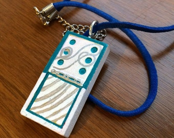 Upcycled Domino Pendant Necklace White Aqua and Silver swirls