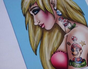 Tattooed Princess Peach Super Mario Postcard