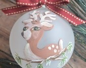 Hand Painted Reindeer Ornament - Frosted Glass ball, 3 inch, Red Ribbon, Children, Parents, Personalized.