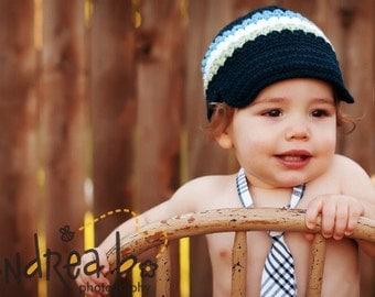 Crocheted Newsboy Hat Boys Striped Versatile Skater Brimmed Hat Visor Beanie Navy White, Celery, Light Blue