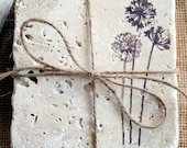 The Wildflowers ** Designer Shabby Chic Coaster Set of 4 ** Natural Stone