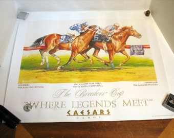 1987 The Breeders Cup Delgado Signed Poster Shoemaker McCarron Horse Race Racing