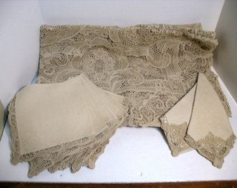 Vintage Antique Cantu Lace Embroidered Point de Venice Tablecloth Table Cloth and Napkins Pre-War 8ft x 5.5ft