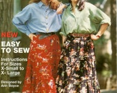 Vintage 1990s Broomstick Skirt Easy To Sew Simplicity Pattern Booklet #0384 Ann Boyce