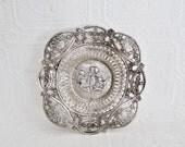 Sterling Silver Cherub Angel Basket Bowl Dish Ornate Pierced Cut Out Garland