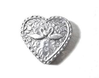 Silver Heart Trinket Box Love Birds Swans Jewelry  Keepsak Box