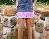 Vintage Hmong High Waist Mini Skirt Embroidered Cotton