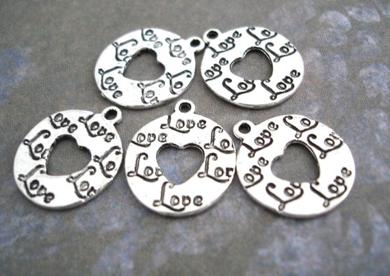 Love Charms Heart Cutout Antiqued Silver Stamped Round Script