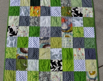Modern Green and Gray Patchwork Baby Quilt