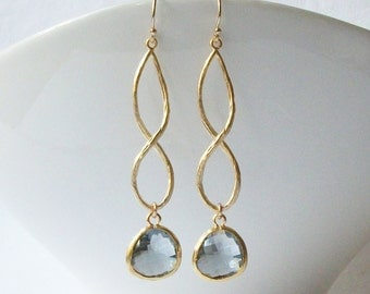 Grey Gold Infinity Drop Earrings