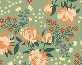 Birch Organic Canvas, Peonies Mint, Acorn Trail,  by the yard