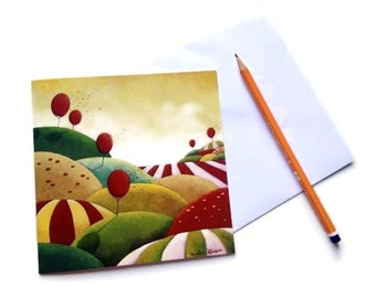"""Blank Greeting Card - Note Card (Notecard) - Art Card - """"Summer Breeze"""" - by Amelie Gagne"""