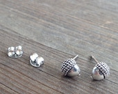 Sterling Silver Acorn Stud Earrings