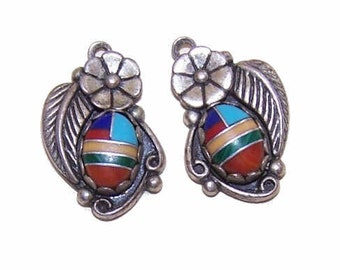 Vintage STERLING SILVER & Faux Multi-Stone Inlay Drop Earrings - Southwest/Native American Styling