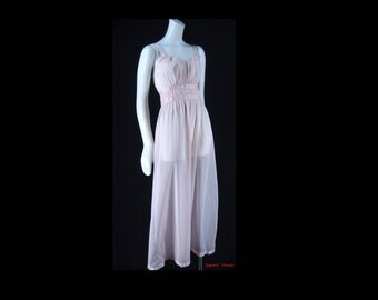 Vintage 1950s Rogers Cool Pink Nylon Tricot Nightgown Gown Lingerie Small 32     f04