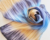 Hand Painted Silk Scarf - Handpainted Scarves Navy Blue Denim Sky Tan Cream Ecru Beige Brown