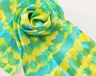 Hand Painted Silk Scarf - Handpainted Scarves Lemon Lime Yellow Chartreuse Green Teal Turquoise Blue Tie Dye Bright Neon