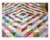 Twin size quilt, diamond quilt, barn raising quilt, 65x85, multi-colored, rainbow, patchwork, squares, machine quilted