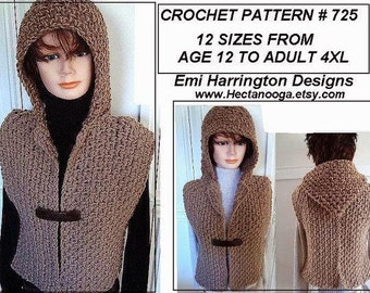 Crochet PATTERN - Hoodie Vest - age 5 to Adult 4XL- Chunky style Shrug - Quick and Easy Clothing for women and girls, #725 craft supplies