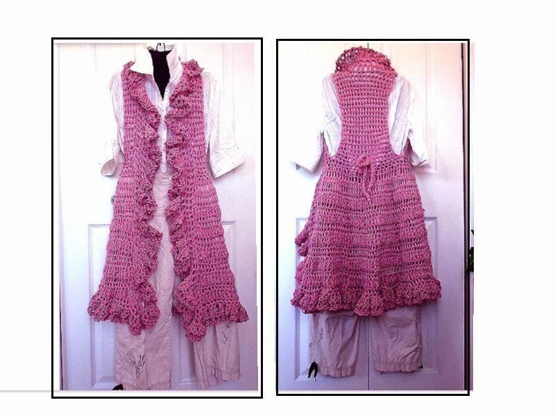 Crochet PATTERN 760 Ruffled Edge Long Vest Chest 30 by ...