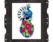 8x10 Peacock Rose Print by Cora Rountree