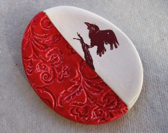 Happy Crow Tea Bag Holder Red and White Collectible Spoon Rest Ceramic  Ring Dish Raven Porcelain Home Decor Gift