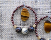 Tigers Eye Stone and Wood Hoop Dangle Earrings - Hypoallergenic