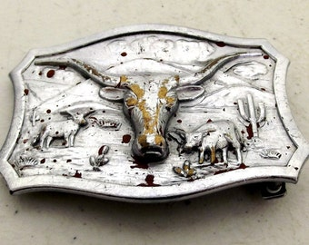 Vintage Lytone Belt Buckle - western wear - steer horns - cattle - Leavens