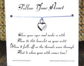 Follow Your Heart - Wish Bracelet - (Abstract Open Heart) - Shown In The Color PERIWINKLE  - Over 100 Different Colors Are Also Available