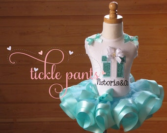 First Birthday Outfit- NAME & CO.- aqua Blue with tons of SPARKLE- Includes top, ribbon tutu - Available in more colors