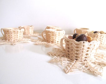 Vintage Crocheted Nut Cups, Set of Eight, Ivory Hand Crocheted Party Favors, Wedding Decor, Hostess Gift