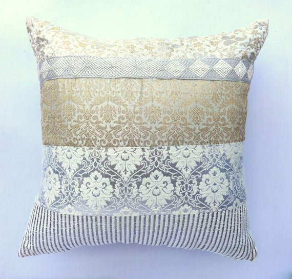 Gold and SIlver Brocade Panel pillow cover- Decorative pillow - 18 inch
