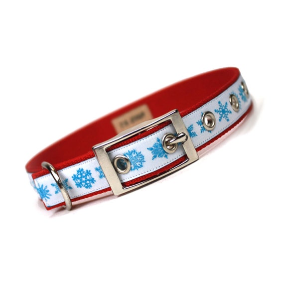 SALE - turquoise and red snowflake Christmas metal buckle dog collar (3/4 inch)