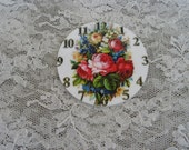 Mosaic Tile Focals Antique Clock with Shabby Roses Image Mosaic Focals Vintage Clock Mosaic Tile Focals 2.5 inch Round Mosaic Focal