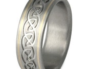 Irish Celtic Titanium Gold Wedding Band - Infinity Ring - ck21