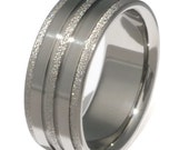 Frost Titanium Wedding Band or Engagement Ring with Polished Finish - f22