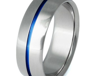 Titanium Ring - Thin Blue Line - Hand Carved Centered Blue Groove - Unique Blue Titanium Ring - b6