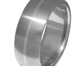 Platinum Titanium Band - Wide Ring with Platinum Inlay - p4