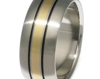 Gold Titanium Wedding Ring - Black Stripes and Gold Inlay Ring - g13